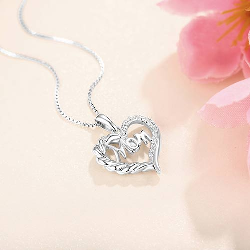 Personalised Heart Necklace For Mum Sterling Silver