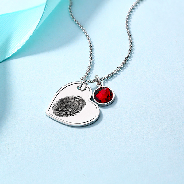 Personalised Offset Heart Necklace With Birthstone