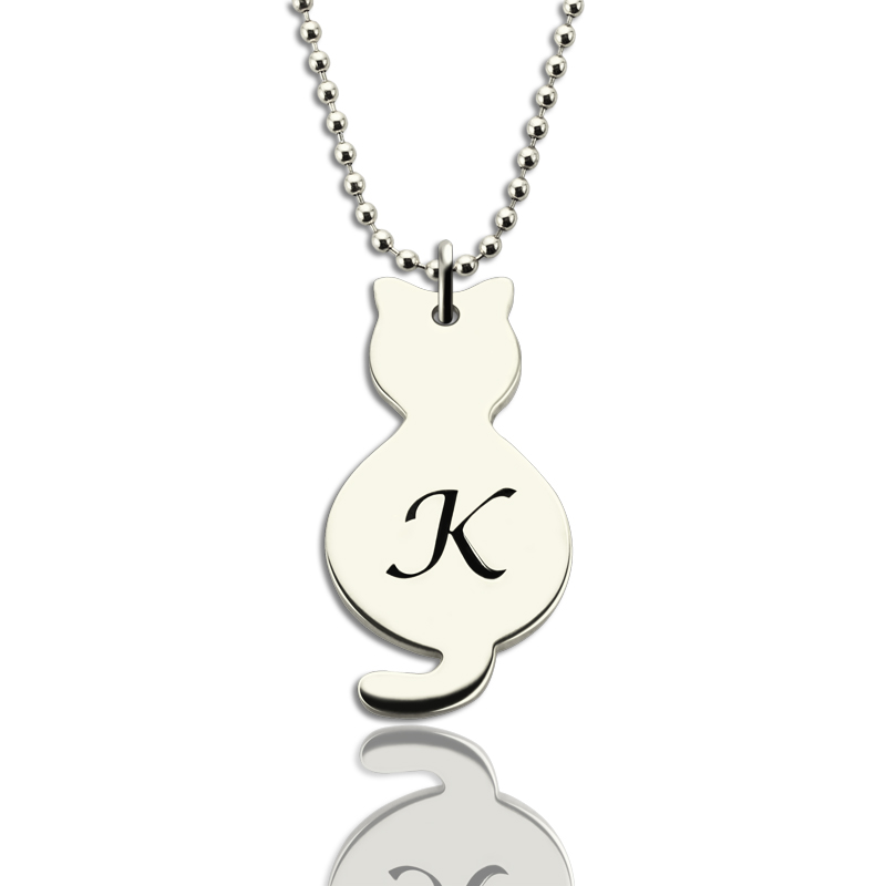 Personalised Tiny Cat Initial Pendant Necklace Silver